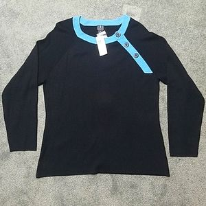 INC Lucky Sweater Button Detail NWT